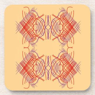 Dessous-de-verre Beige rouge exotique d'éléments de conception