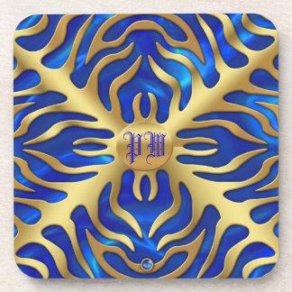 Dessous de verre bleus d'ivrogne de satin de tigre