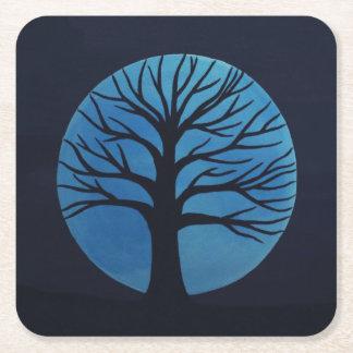 Dessous de verre (bleus) éffrayants d'arbre dessous-de-verre carré en papier