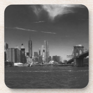 Dessous-de-verre Brooklyn blanc noir panoramique
