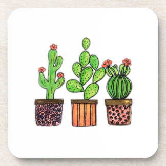 Dessous-de-verre Cactus mignon d'aquarelle dans des pots