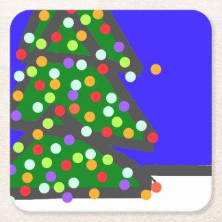 Dessous-de-verre Carré En Papier Arbre de Noël avec des points d'ampoule sur le