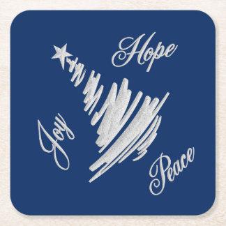 Dessous-de-verre Carré En Papier Arbre de Noël de paix d'espoir de joie