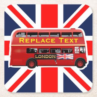 Dessous-de-verre Carré En Papier Autobus à impériale rouge de Londres