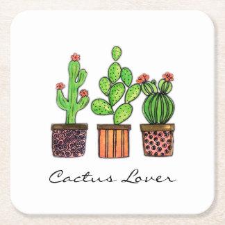 Dessous-de-verre Carré En Papier Cactus mignon d'aquarelle dans des pots