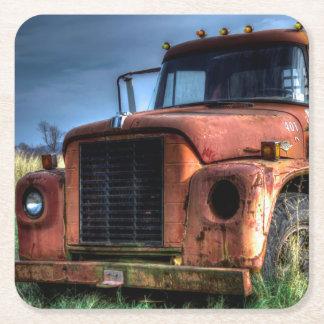 Dessous-de-verre Carré En Papier Camion pick-up international rouge antique