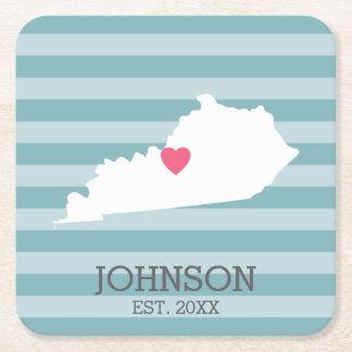 Dessous-de-verre Carré En Papier Carte de l'État d'origine du Kentucky - noms faits