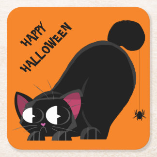 Dessous-de-verre Carré En Papier Chat noir et araignée de Halloween
