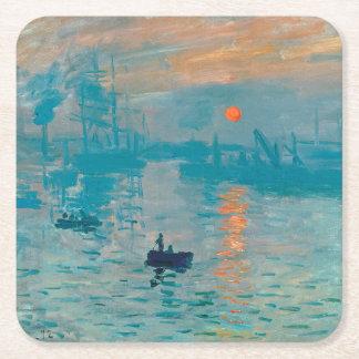Dessous-de-verre Carré En Papier CLAUDE MONET - impression, lever de soleil 1872