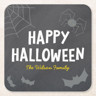 Dessous-de-verre Carré En Papier Créatures terribles Halloween heureux de tableau