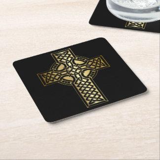 Dessous-de-verre Carré En Papier Croix celtique de noeud dans l'or et le noir