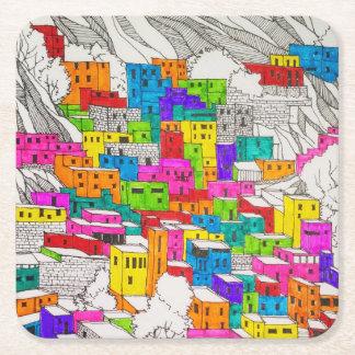 Dessous-de-verre Carré En Papier Dessous de verre colorés de croquis de ville