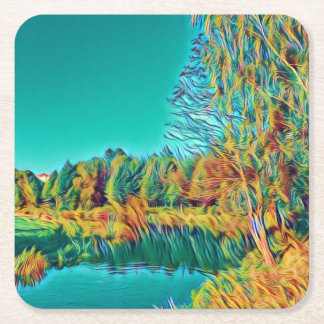 Dessous-de-verre Carré En Papier Dessous de verre de paysage de campagne d'été