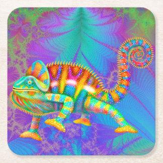 Dessous-de-verre Carré En Papier Dessous de verre psychédéliques de caméléon de