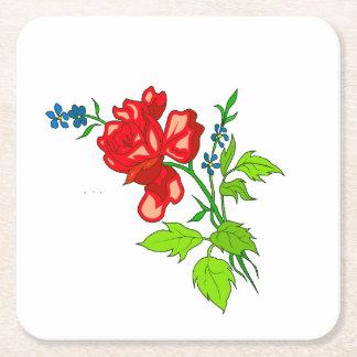 Dessous-de-verre Carré En Papier Dessous de verre rouges de fleur