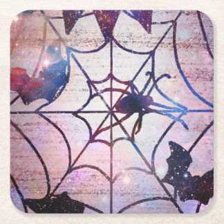 Dessous-de-verre Carré En Papier Dessous de verre scintillants de toile d'araignée
