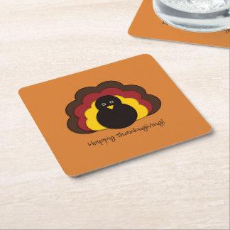 Dessous-de-verre Carré En Papier Dinde de thanksgiving