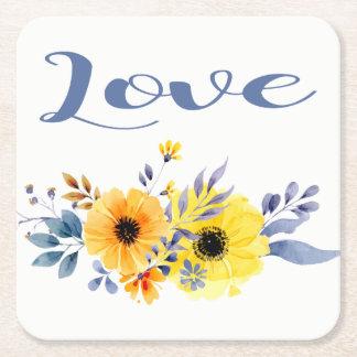 Dessous-de-verre Carré En Papier Fleurs jaunes et bleues d'amour floral d'aquarelle