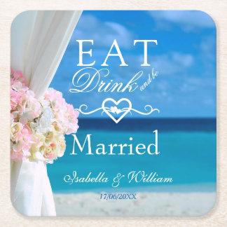 Dessous-de-verre Carré En Papier Floraux élégants mangent le mariage de plage marié