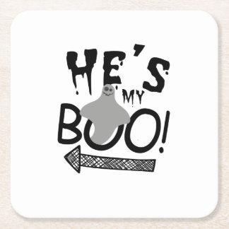 Dessous-de-verre Carré En Papier Halloween couple drôle il est mon huent le fantôme