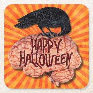 Dessous-de-verre Carré En Papier Halloween Raven déplaisant sur le cerveau