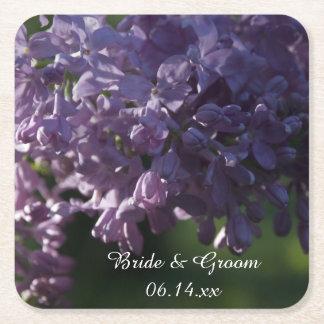 Dessous-de-verre Carré En Papier Le lilas pourpre fleurit le mariage