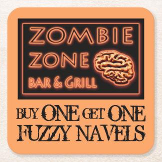Dessous-de-verre Carré En Papier Le zombi drôle de Halloween boit le nombril