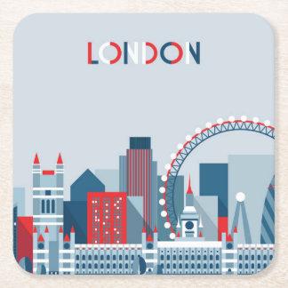 Dessous-de-verre Carré En Papier Londres, Angleterre horizon rouge, blanc et bleu