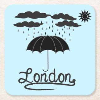 Dessous-de-verre Carré En Papier Londres | sous un parapluie