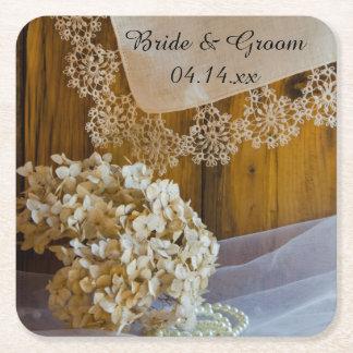 Dessous-de-verre Carré En Papier Mariage de grange de dentelle et de fleurs de pays