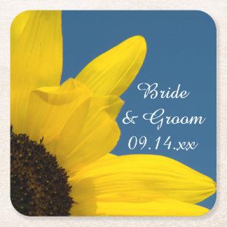 Dessous-de-verre Carré En Papier Mariage de tournesol jaune et de ciel bleu