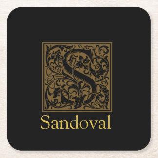 Dessous-de-verre Carré En Papier Monogramme antique de S