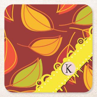 Dessous-de-verre Carré En Papier Monogramme - feuille d'automne, feuillage