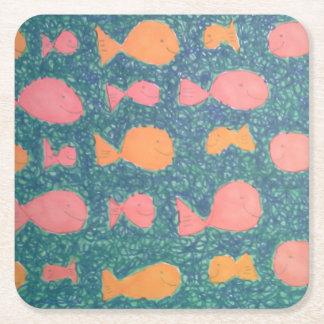 Dessous-de-verre Carré En Papier Motif peint par poissons tropicaux