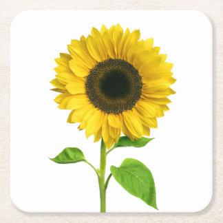 Dessous-de-verre Carré En Papier Noce jaune florale de fleur de tournesol