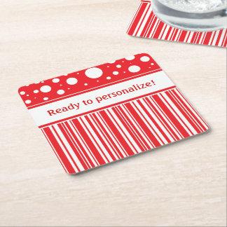 Dessous-de-verre Carré En Papier Noël rouge et blanc
