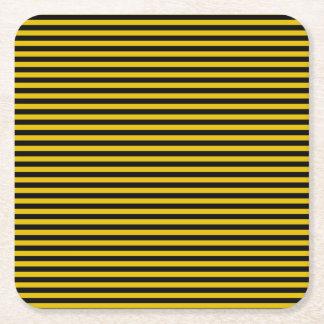 Dessous-de-verre Carré En Papier Or jaune et plaid noir barrés