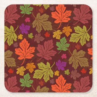 Dessous-de-verre Carré En Papier Partie de thanksgiving d'automne de feuillage de