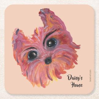 Dessous-de-verre Carré En Papier Peinture mignonne de chien de Yorkie dans le rose