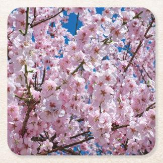 Dessous-de-verre Carré En Papier photographie rose élégante d'arbre de fleurs de