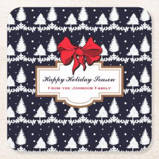Dessous-de-verre Carré En Papier Pins et famille heureuse de saison des vacances de