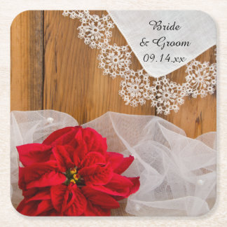 Dessous-de-verre Carré En Papier Poinsettia rustique et mariage d'hiver de pays de