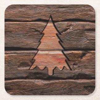 Dessous-de-verre Carré En Papier Texture à feuillage persistant gravée par bois