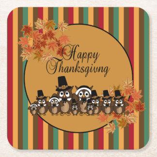 Dessous-de-verre Carré En Papier Thanksgiving de famille d'oiseau de hibou