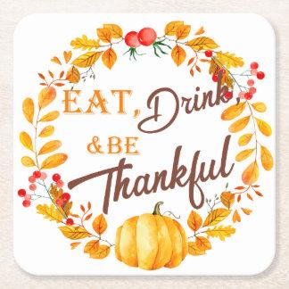 Dessous-de-verre Carré En Papier Thanksgiving de guirlande de chute