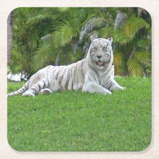 Dessous-de-verre Carré En Papier Tigre et palmiers blancs de sourire