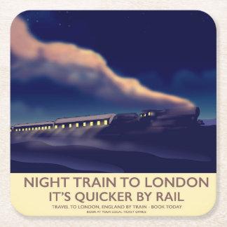 Dessous-de-verre Carré En Papier Train de nuit vers Londres