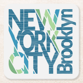 Dessous-de-verre Carré En Papier Typographie de Brooklyn New York