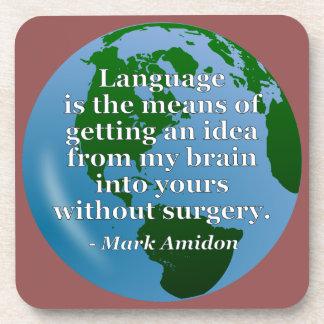Dessous-de-verre Cerveau d'idée de langue sans citation de