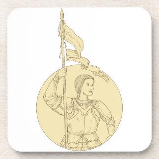 Dessous-de-verre Chevalier féminin tenant le dessin de cercle de